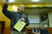 Stephen Hill explains the share agreement documents at a meeting in Midway last December; Photo, Mona Mattei